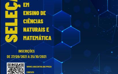 Últimos dias de inscrições para seleção do Mestrado em Ensino de Ciências Naturais e Matemática