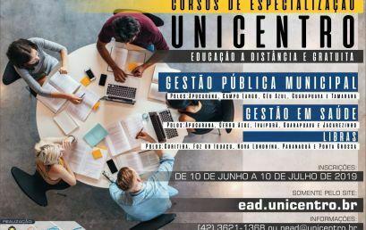Unicentro abre inscrições para três especializações a distância gratuitas