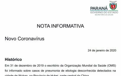 Governo emite nota com orientações para controle e prevenção do Novo Coronavirus