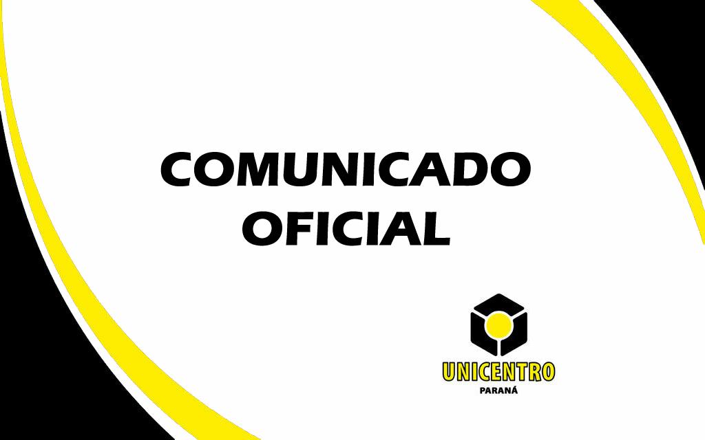 Nota oficial da Unicentro a respeito das medidas definidas pelo Governo do Paraná para enfrentamento da pandemia de Covid-19