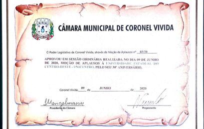 Câmara Municipal de Coronel Vivida aprova Moção de Aplausos para a Unicentro