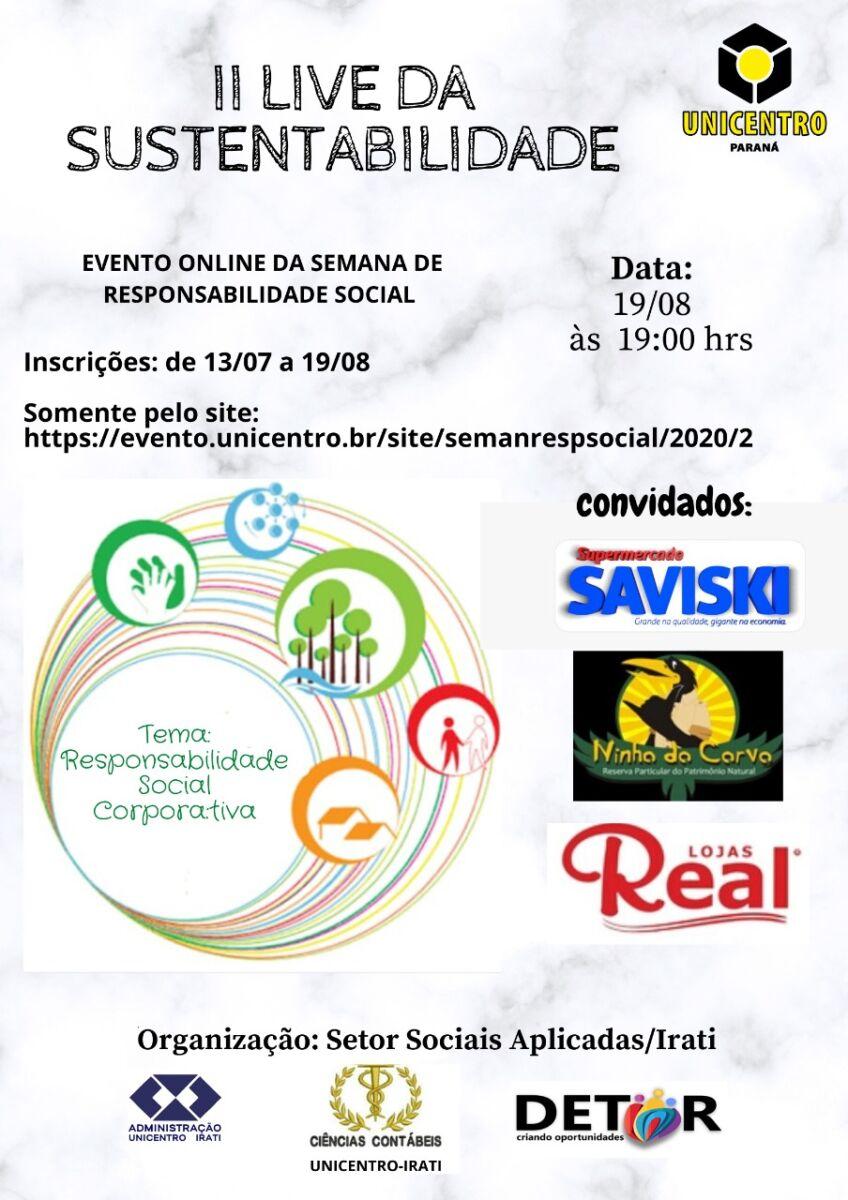 Sustentabilidade nas empresas é tema da versão virtual da Semana de Responsabilidade Social