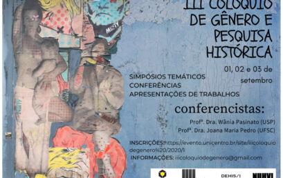 Inscrições para Colóquio Gênero e Pesquisa Histórica terminam amanhã
