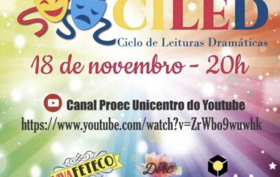 Ciclo de Leituras Dramáticas é nessa quarta-feira, com transmissão pelo YouTube