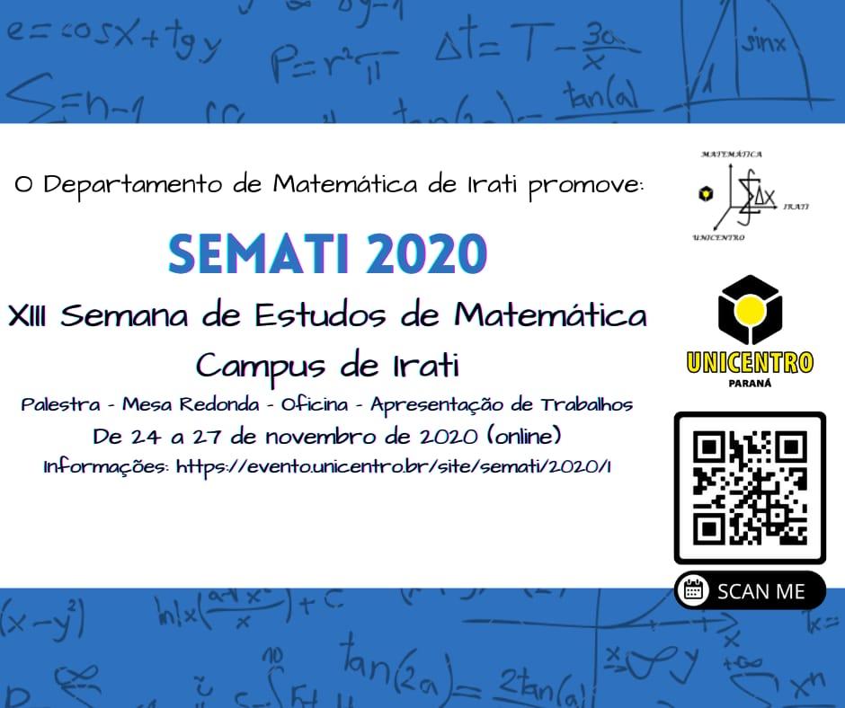 Abertas as inscrições para Semana de Estudos de Matemática