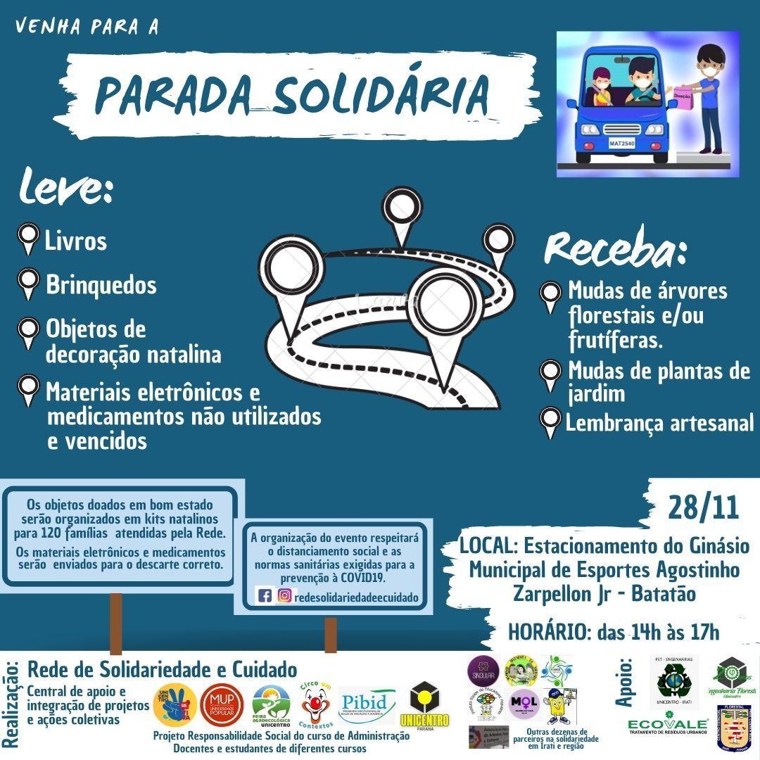 Rede de Solidariedade e Cuidado promove Parada Solidária neste sábado