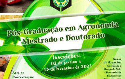 Cursos de mestrado e doutorado em Agronomia estão com inscrições abertas
