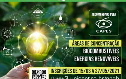 Abertas as inscrições para a turma 2021 do Mestrado em Bioenergia