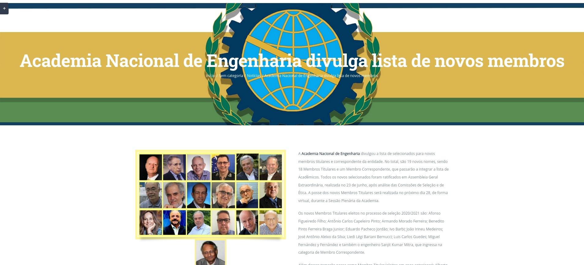 Professor da Unicentro toma posse como membro da Academia Nacional de Engenharia