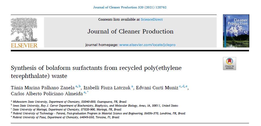 Pesquisa da Unicentro é publicada em periódico de alto impacto da área de físico-química orgânica