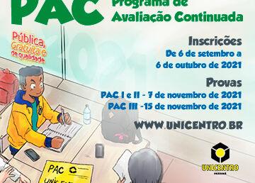 Estão abertas as inscrições para o PAC Unicentro