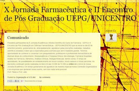 X Jornada Farmacêutica e II Encontro de Pós Graduação UEPG/Unicentro