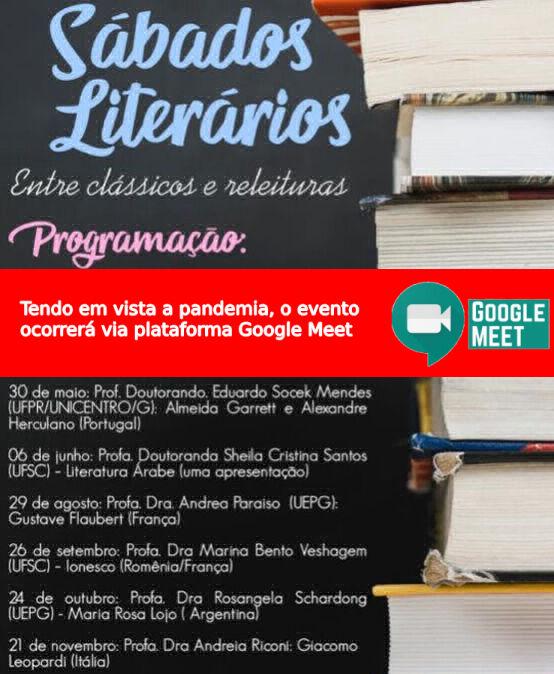 Sábados Literários: entre clássicos e releituras – Prof. Doutorando Eduardo Socek Mendes (UFPR/Unicentro/G) – Via plataforma Google Meet