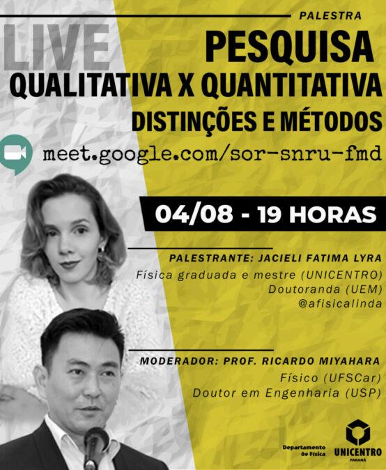 Live: Pesquisa Qualitativa x Quantitativa – Distinções e Métodos