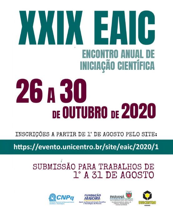 XXIX Eaic – Encontro Anual de Iniciação Científica